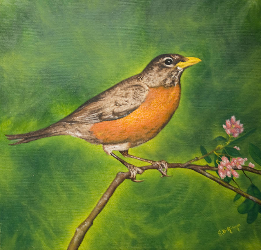Nature Painting - First Sign of Spring by Stephen J DiRienzo