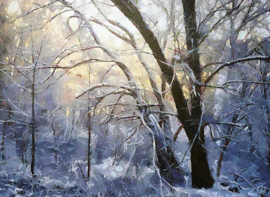 Nature Digital Art - First Snow by Gun Legler