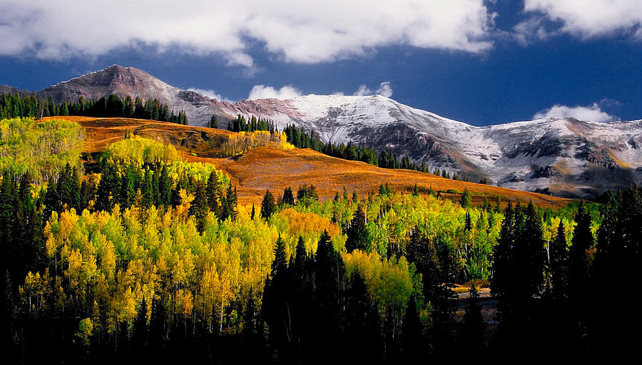 Mountains Photograph - First snow of the year by Mike  Bennett