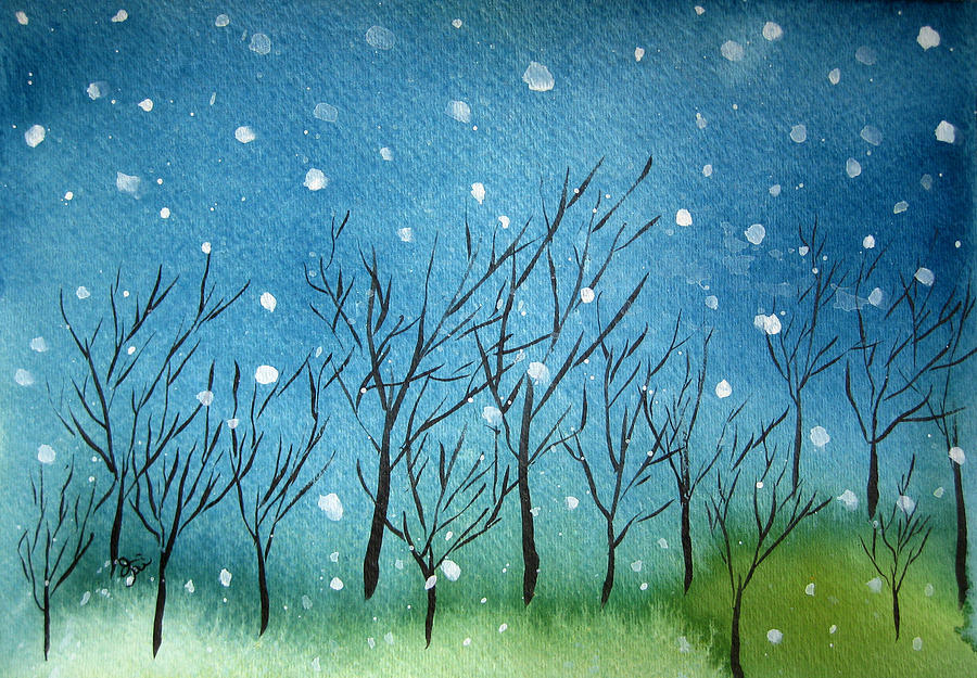 First Painting - First Snow by Oiyee At Oystudio