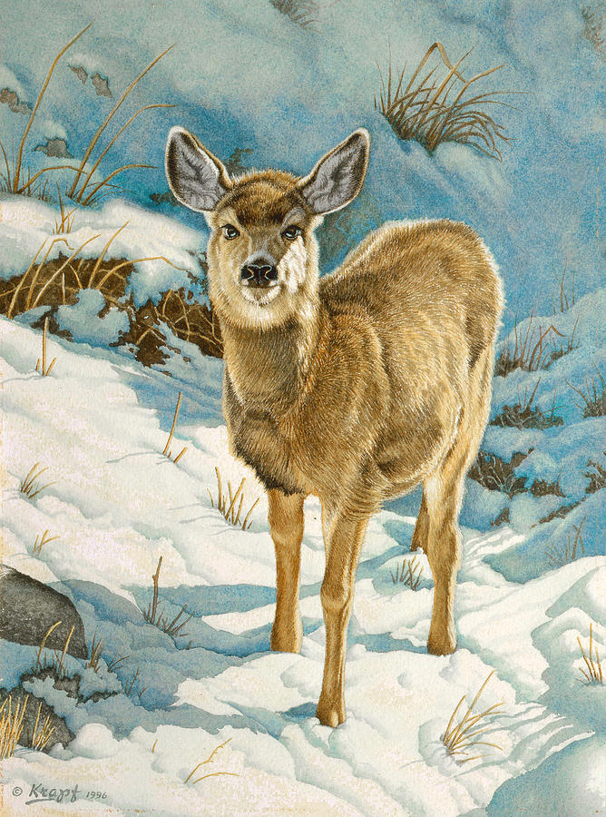 Wildlife Painting - First Winter  - Fawn by Paul Krapf