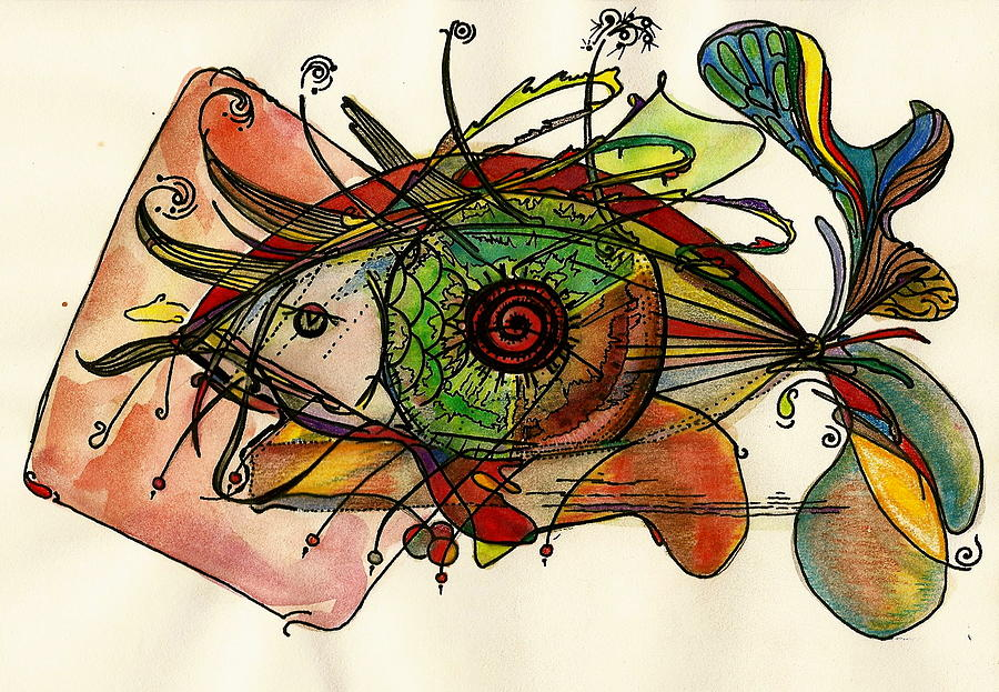 Fish And Eye Abstract Mixed Media