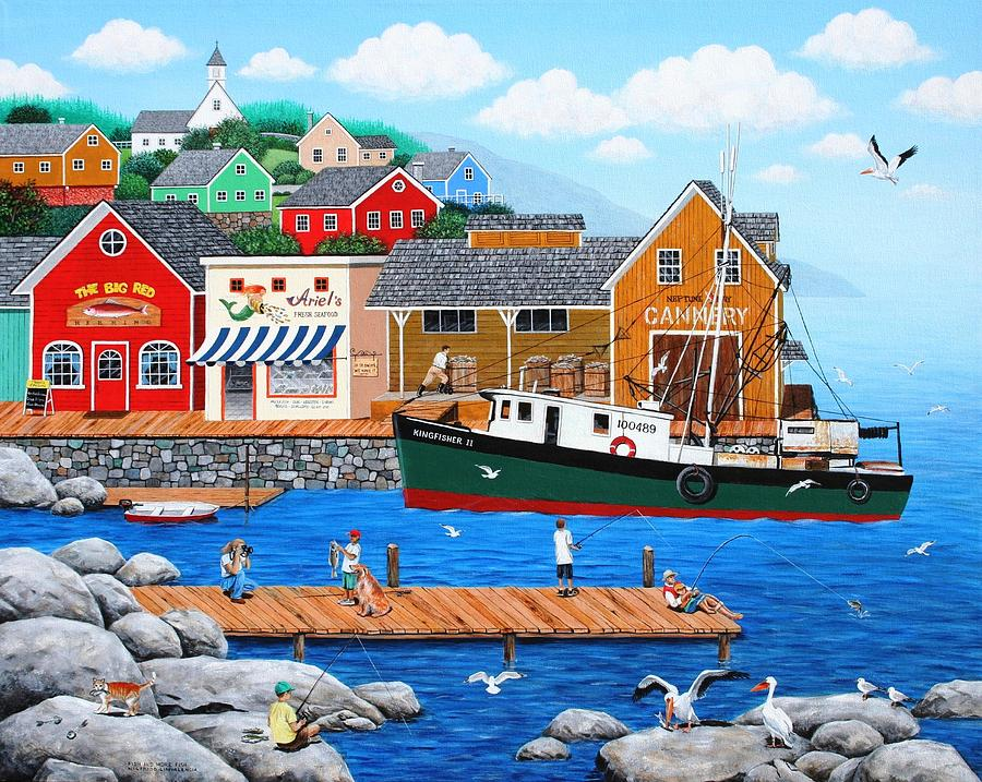 Folk Art Painting - Fish And More Fish by Wilfrido Limvalencia