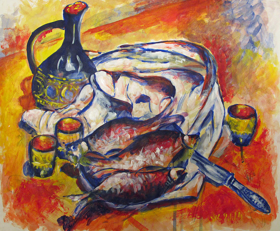 Fish Painting - Fish And Wine by Vladimir Kezerashvili