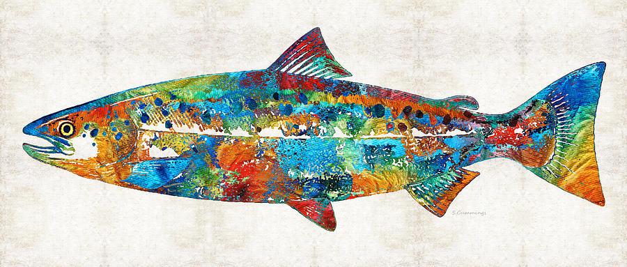 Salmon Painting - Fish Art Print - Colorful Salmon - By Sharon Cummings by Sharon Cummings