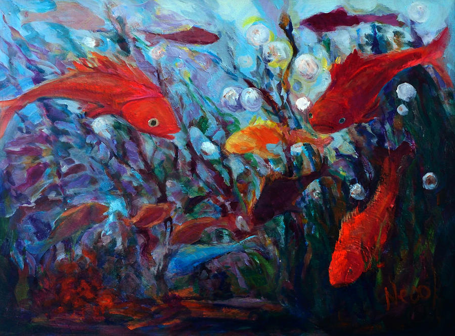Fish Painting - Fish Chatter by Nanci Cook