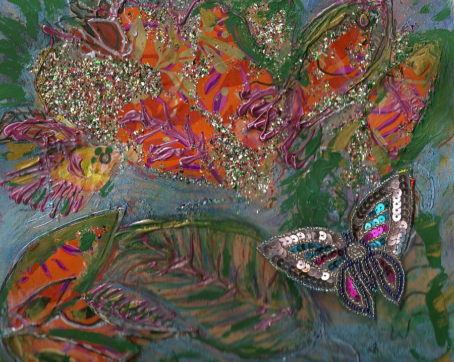 Fish Painting - Fish Dream Of Flying Butterfly Dreams Of Swimming by Anne-Elizabeth Whiteway
