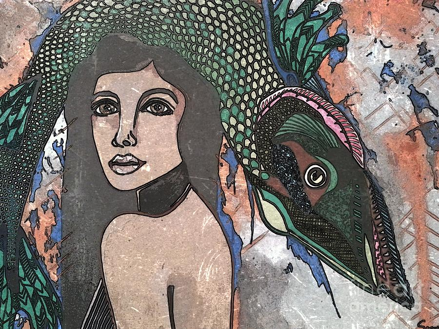 Woman Painting - Fish Head Woman by Amy Sorrell