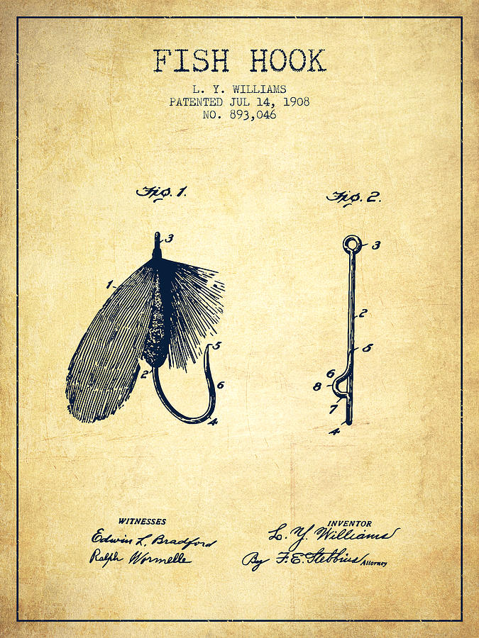 Fish Hook Digital Art - Fish Hook Patent From 1908- Vintage by Aged Pixel