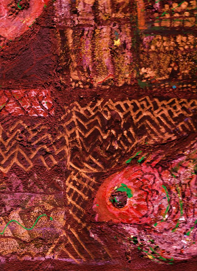 Unusual Painting - Fish In A Maze Of Nets by Anne-Elizabeth Whiteway