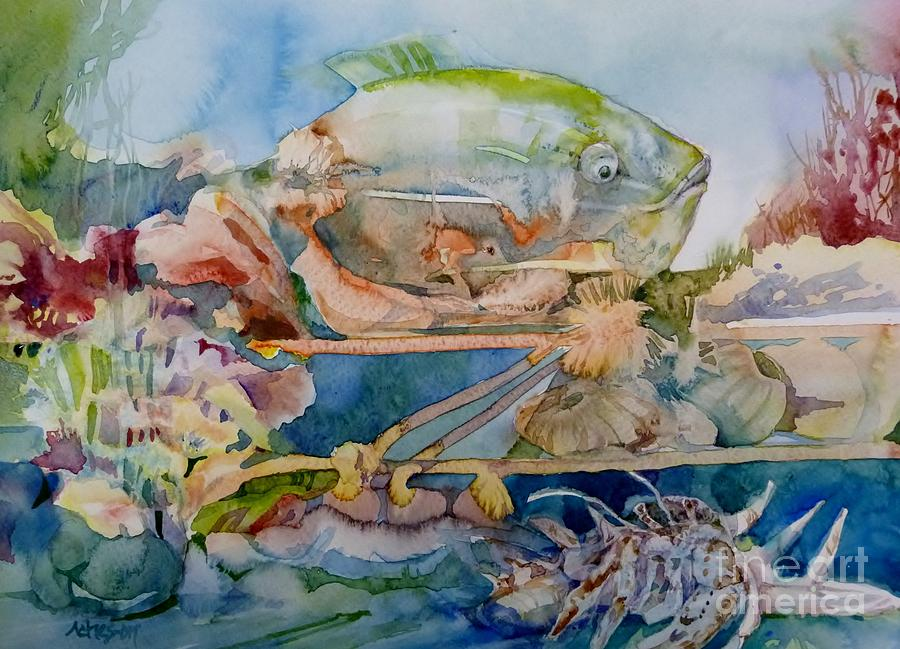 Fish in an aquarium painting by donna acheson juillet for Fish tank paint
