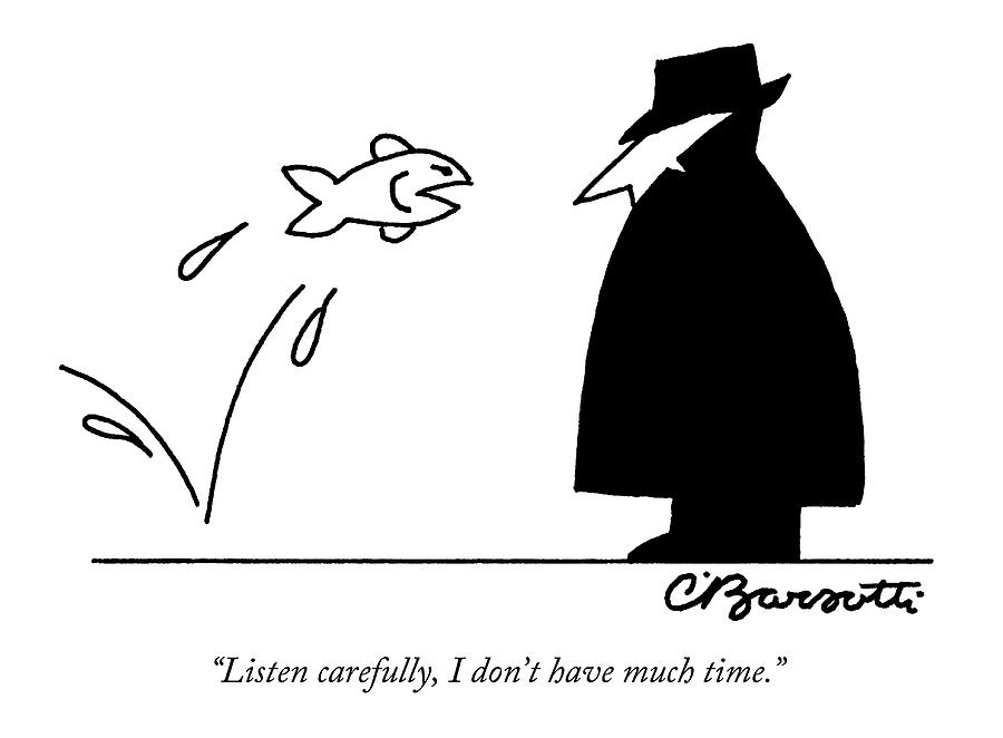 Fish Informant Jumps Toward Man In Trench Coat Drawing by Charles Barsotti