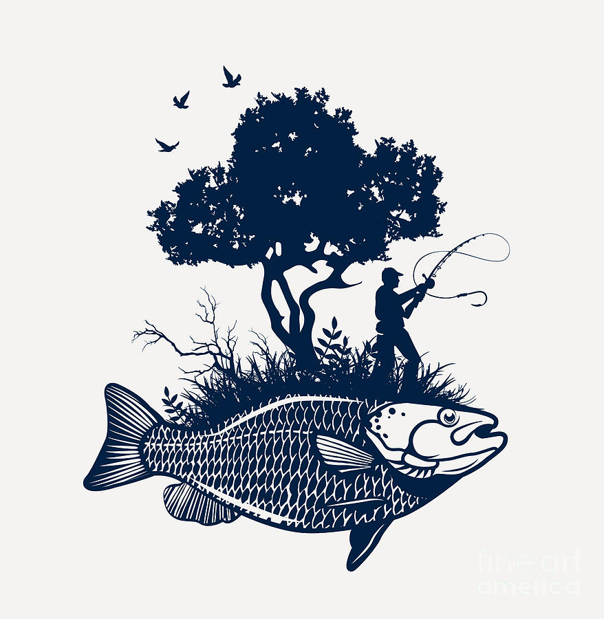 Symbol Digital Art - Fish Island With Fisherman And Tree by Moloko88