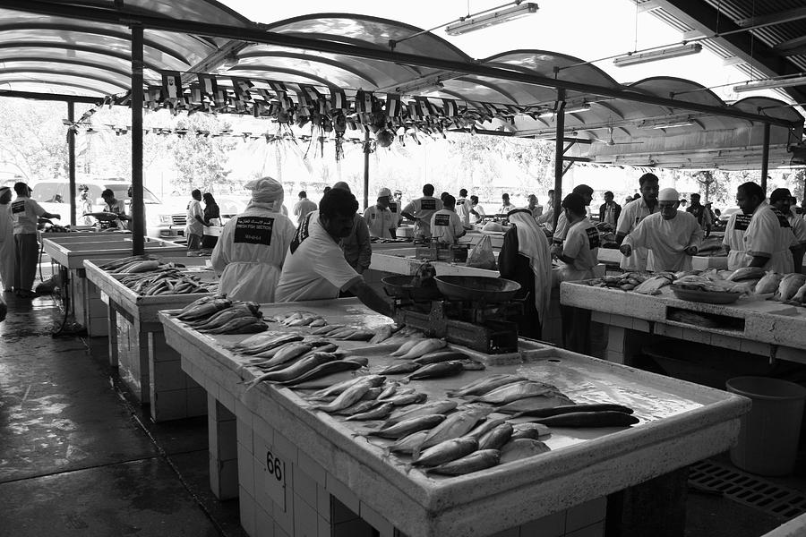Monochrome Photograph Photograph - Fish Market In Dubai by Maeve O Connell