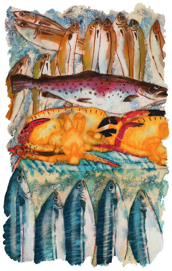 Fish Market Drawing by Tess Stone