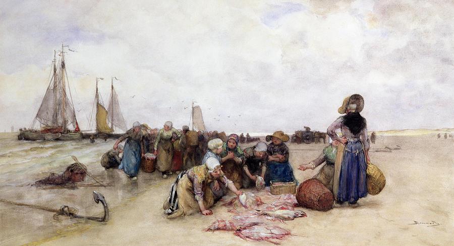 Beach Painting - Fish Sale On The Beach  by Bernardus Johannes Blommers