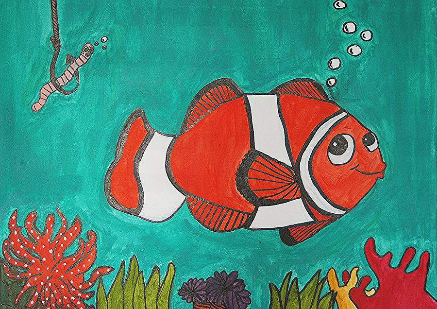 Clown Fish Painting - Fish Smiling At Lunch by Fred Hanna