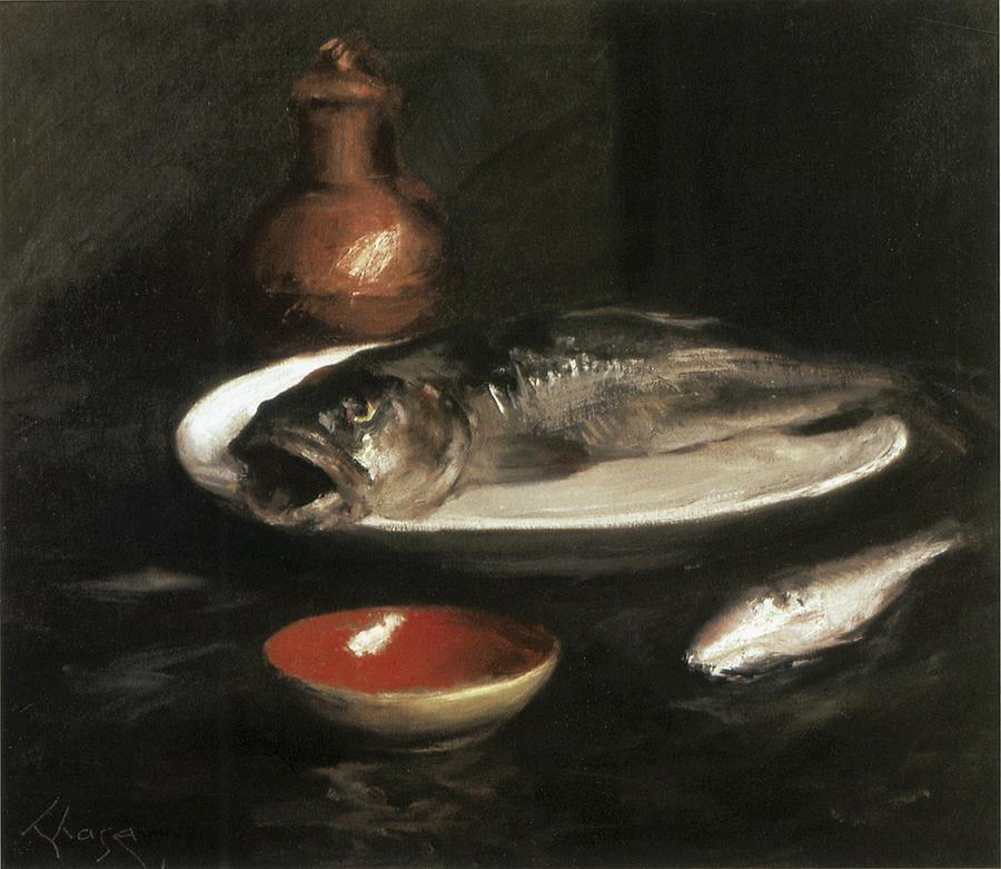 Fish Still Life Painting by William Merritt Chase