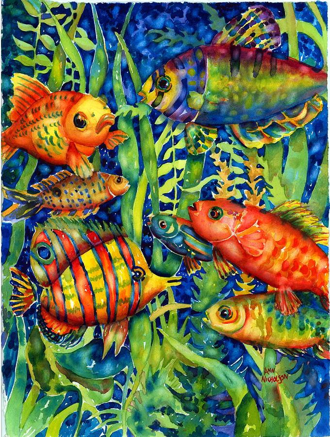 Undersea Painting - Fish Tales IIi by Ann  Nicholson