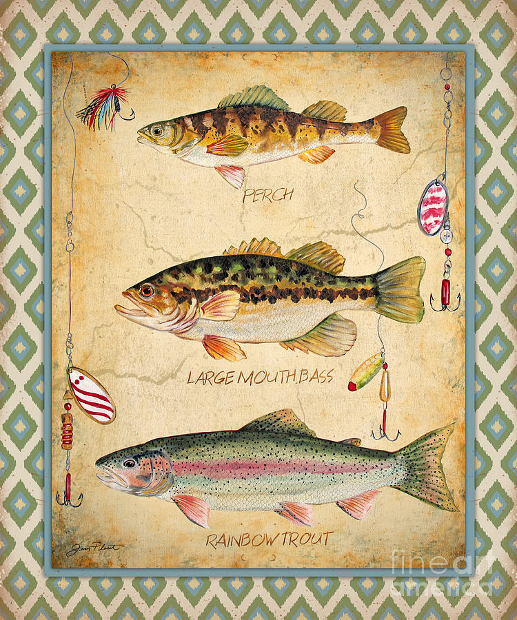 Fish Trio-a-ikat Painting by Jean Plout