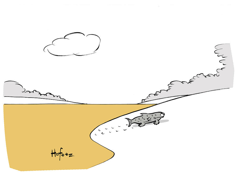 Fish Walking Out Of Toxic Water Drawing by Kaamran Hafeez