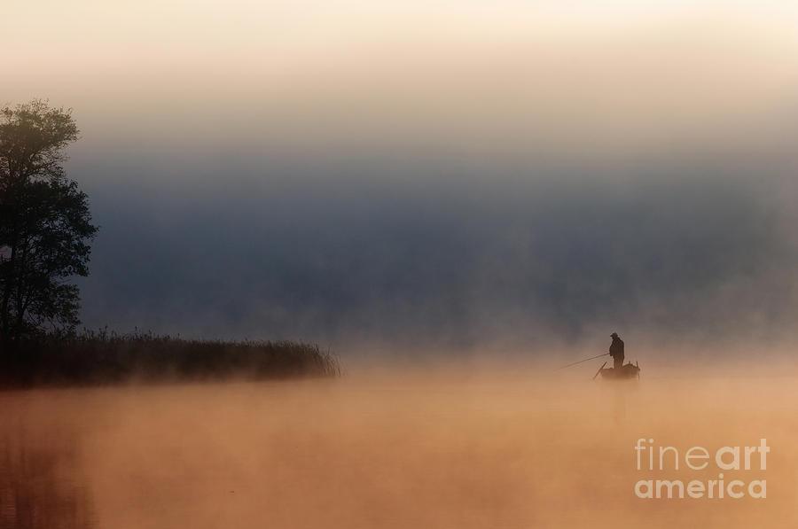 Autumn Photograph - Fisher in fog by Arletta Cwalina
