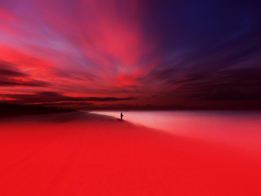 Beach Photograph - Fisher In Red by Florin Birjoveanu