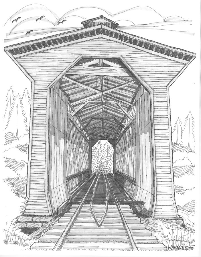 Covered Bridge Drawing - Fisher Railroad Covered Bridge by Richard Wambach