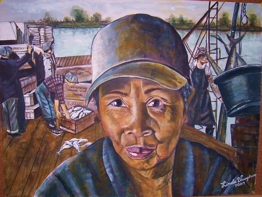 Female Worker Docks Painting - Fisher Woman by Linda Vaughon