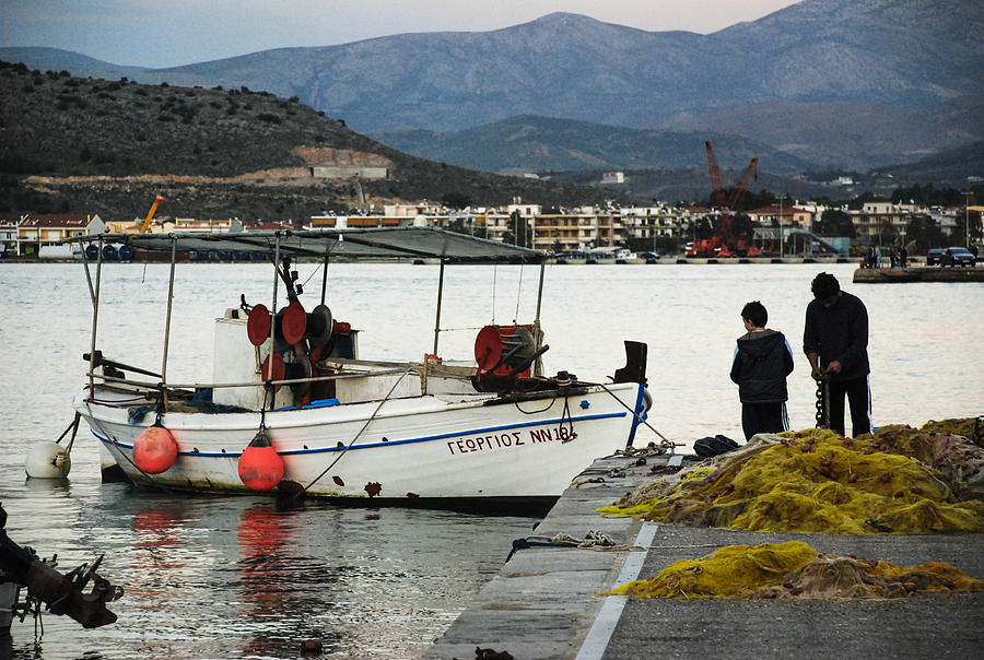 Nafplio Photograph - Fisherman And Son by David Waldo