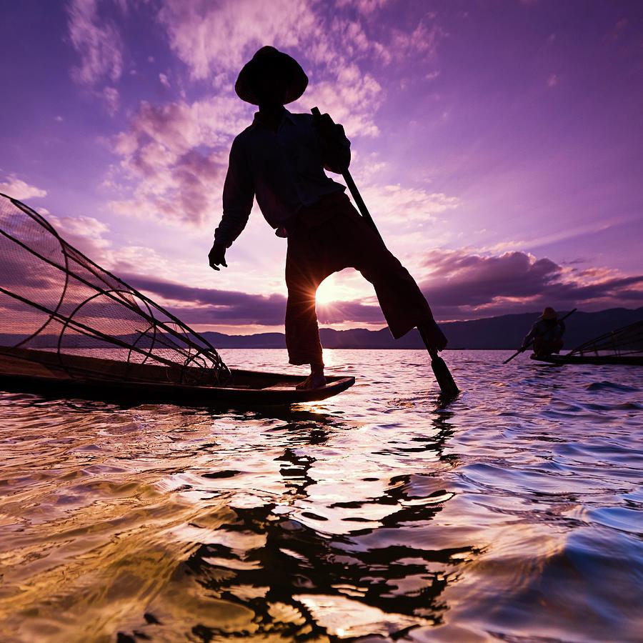 Fisherman On Inle Lake, Myanmar Photograph by Hadynyah