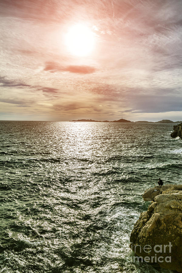 Marseille Photograph - Fisherman On The Cliff At Sunset by Pier Giorgio Mariani