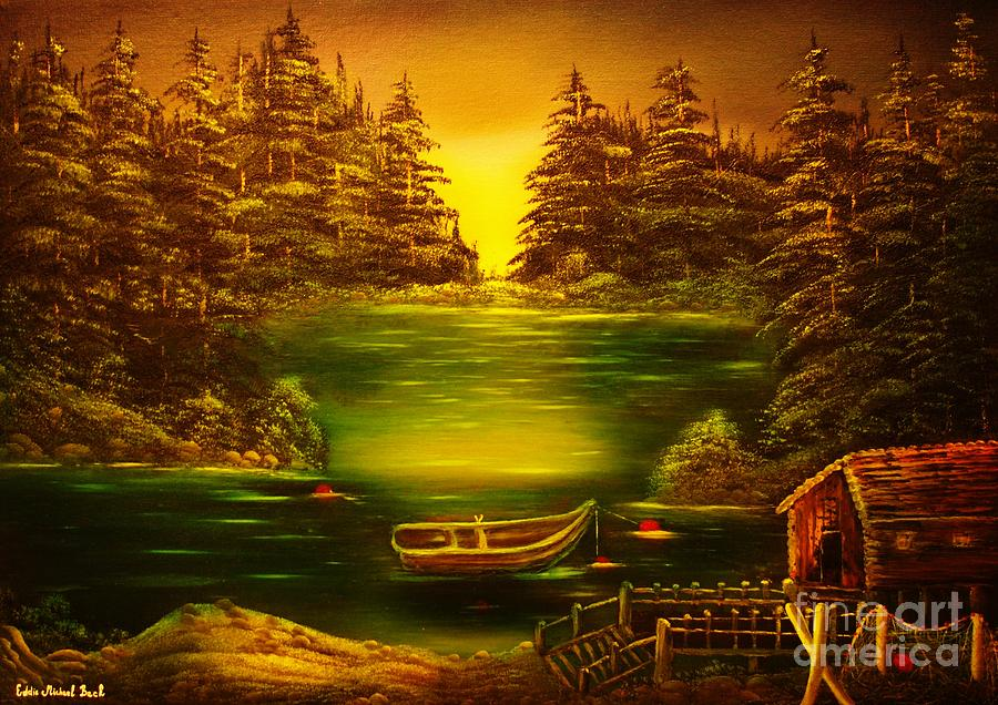 Fisherman Painting - Fishermans Cabin-original Sold- Buy Giclee Print Nr 32 Of Limited Edition Of 40 Prints  by Eddie Michael Beck