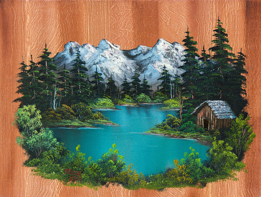 Landscape Painting - Fishermans Cabin by C Steele