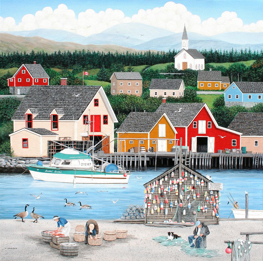 Seascape Painting - Fishermans Cove by Wilfrido Limvalencia