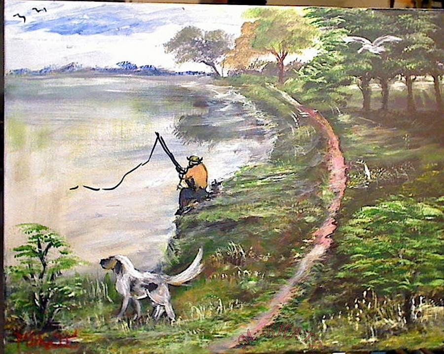 Landscape Painting - Fishermans Dog by M Bhatt
