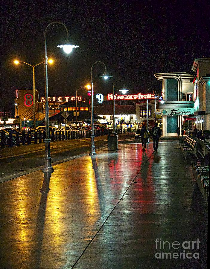 Light Poles Photograph - Fishermans Wharf At Night by Tina Araquistain