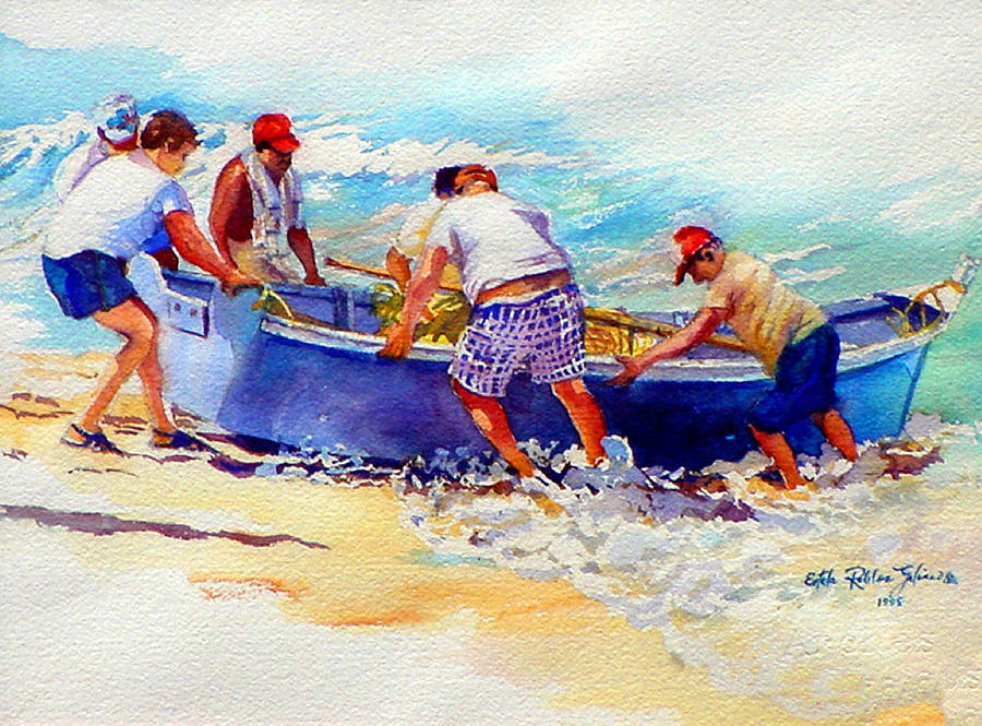 Fishermen Friendship Painting by Estela Robles