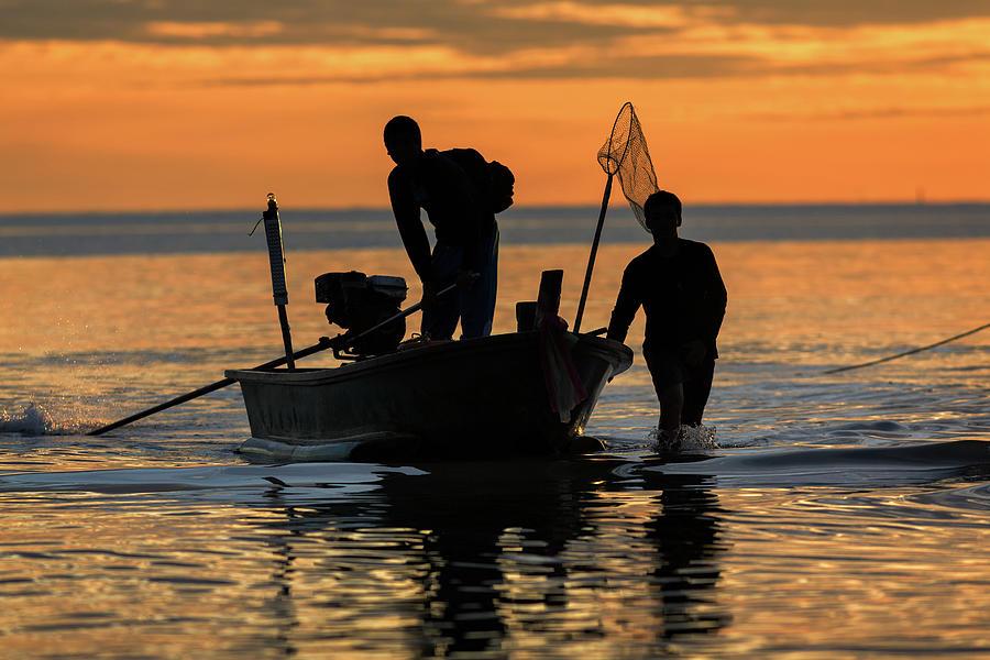 Fishermen Photograph by Monthon Wa