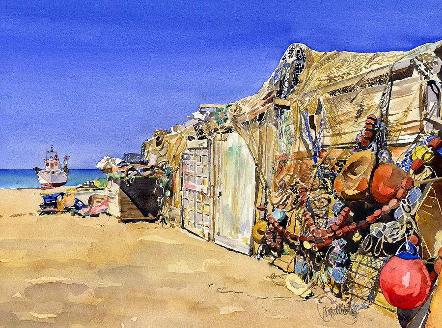 Spain Painting - Fishermens Huts At San Miguel by Margaret Merry