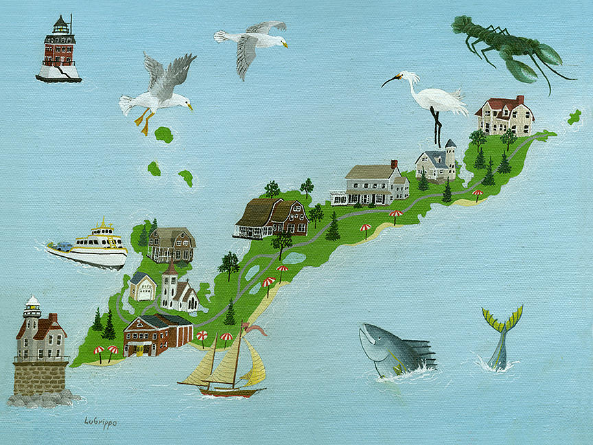 Fishers Island Map  by Robert  Logrippo