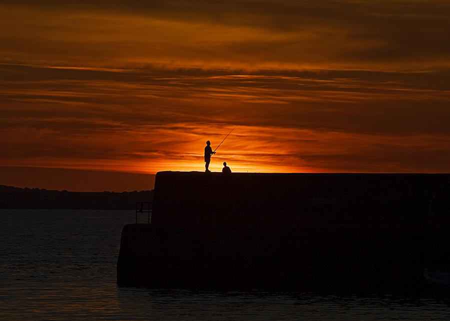Fishing Photograph - Fishing As Sunset by Tony Reddington