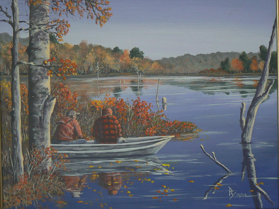 Fishing at Lake Nuangola by Ray Nutaitis