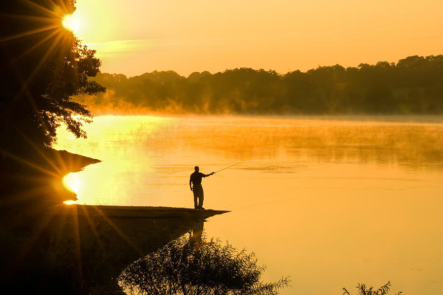 Fishing Photograph - Fishing At Sunrise by Delmas Lehman