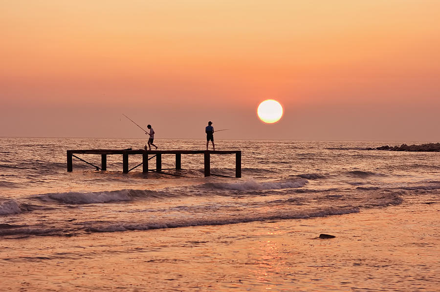 Fishing Photograph - Fishing At Sunset. by Alexandr  Malyshev
