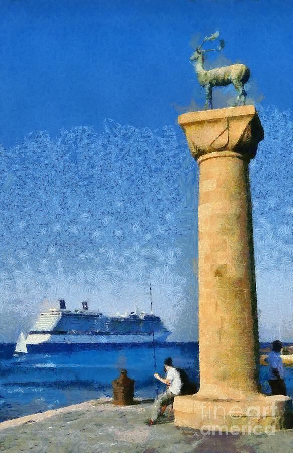 Rhodes Painting - Fishing At The Entrance Of Mandraki Port by George Atsametakis