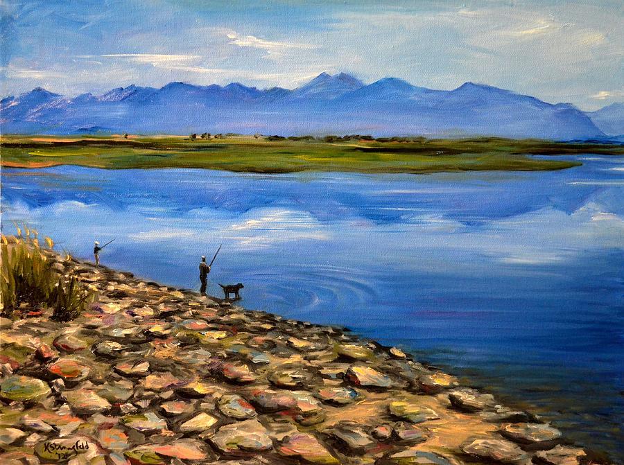 Rockies Painting - Fishing at the Rockies by Karen Strangfeld