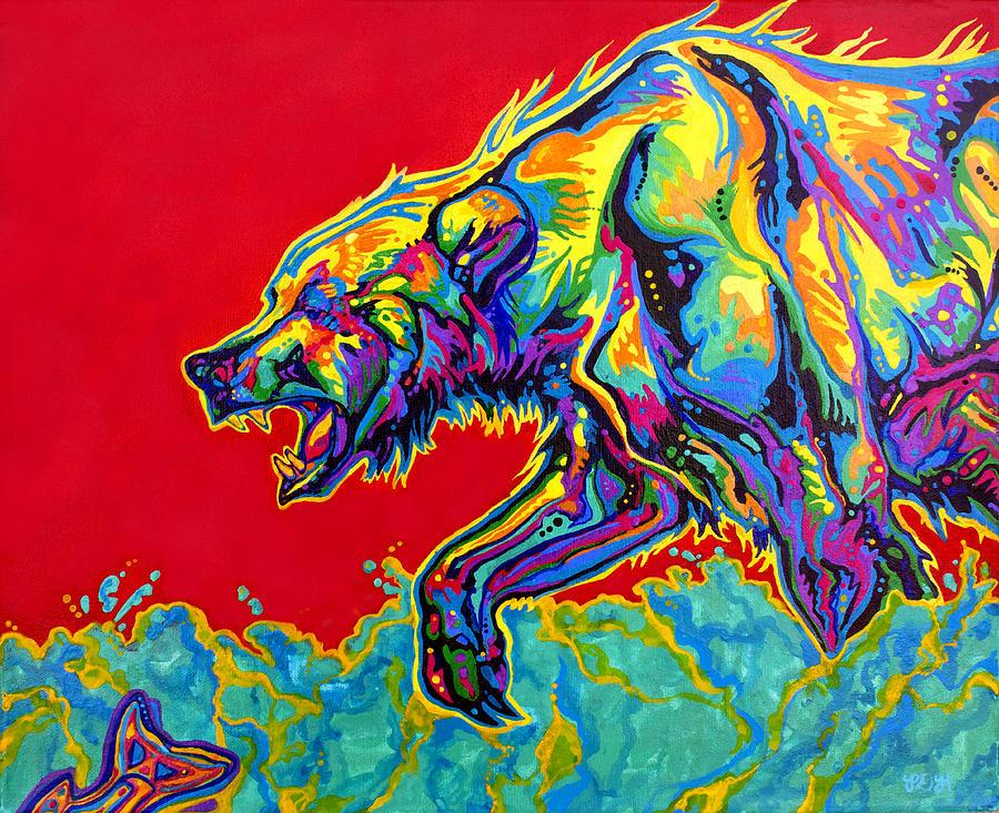 Bear Painting - Fishing Bear by Derrick Higgins