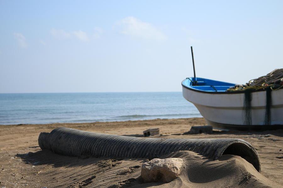 Fishing Boat - Seeb Village Digital Art by Ibrahim Albalushi