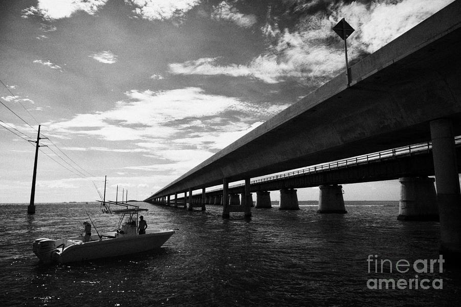 Seven Photograph - Fishing Boat Beneath New Seven Mile Bridge In Marathon In The Florida Keys by Joe Fox